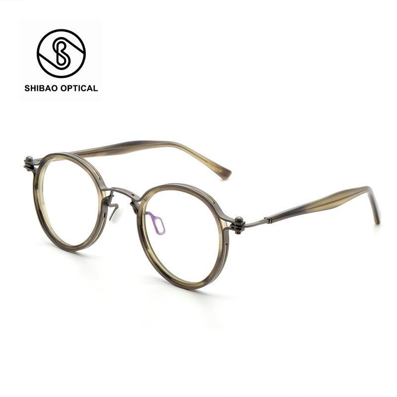 mãe artesanal japonês Xu Zheng óculos designer clássico redondo do quadro do titânio puro óculos de miopia quadro TAVAT