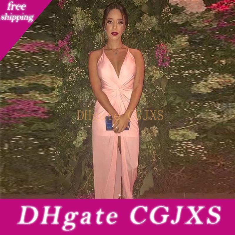 Sexy Halter Chiffon Prom Dresses alta Dividir V Neck-de-rosa Evening usar vestidos baratos Robe De Soiree