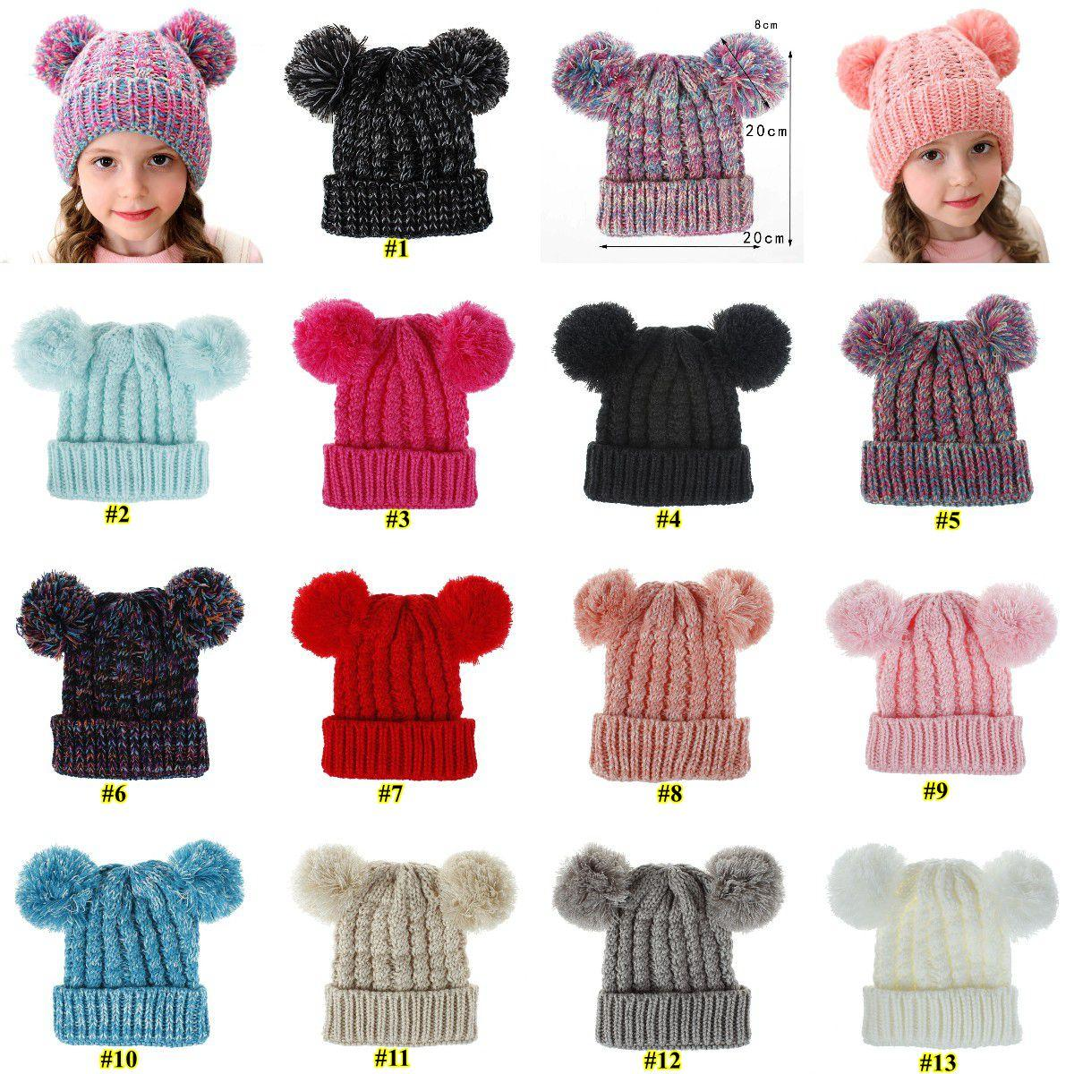 Kid Knit Crochet Beanies Hat Girls Soft Double Balls Winter Warm Hat 13 Colors Outdoor Baby Pompom Ski Caps GH530