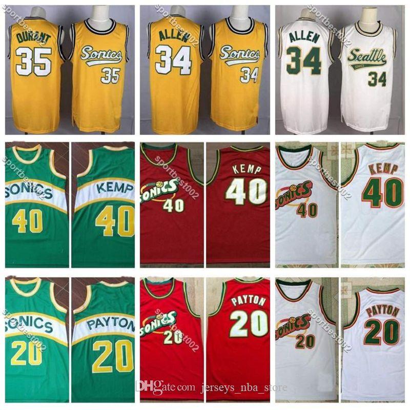 Retro Guante Gary Payton 20 SeattleNBASuperSonics20 camisetas de la vendimia Ray Allen 34 Reinado hombre Shawn Kemp 40 Retroceso de baloncesto