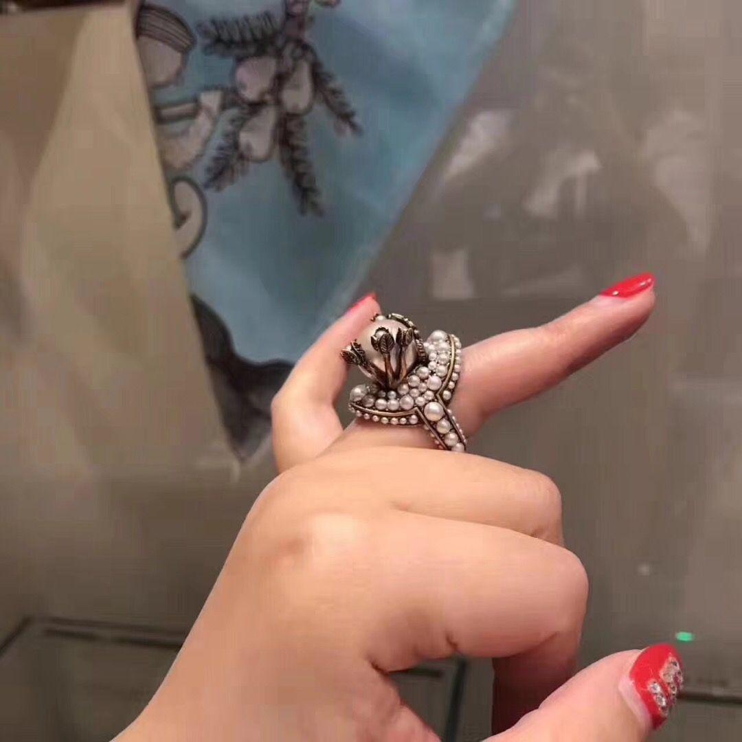 retro big pearl flower ring women italy design ball copper rings wedding party ins jewelry Anillo de moda