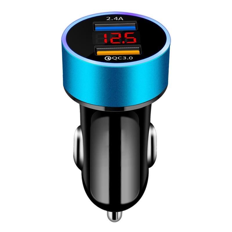 차량용 충전기 고속 충전 금속 듀얼 USB 4.8A 차량용 어댑터 LED 디스플레이 자동차 전압 감지기 플러시 맞춤 듀얼 USB 빠른 전화 충전기를 충전