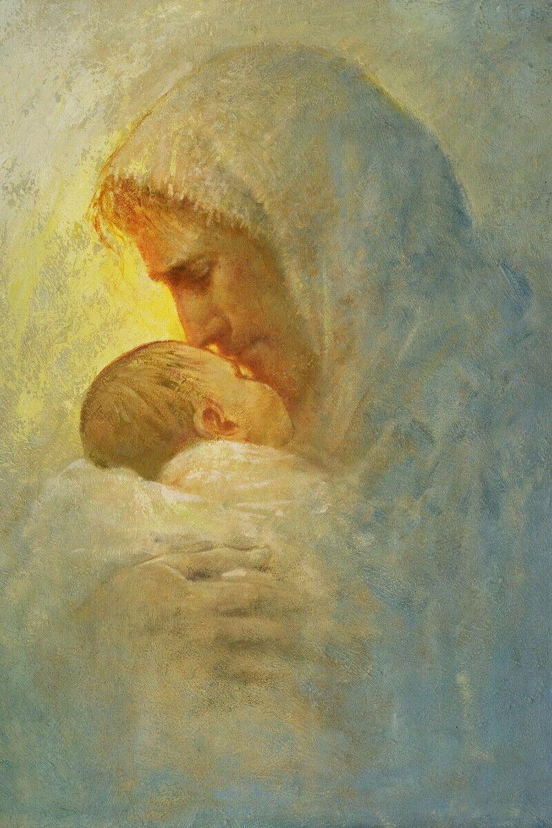 Yongsung Kim Jésus-Christ embrassant et baisant un bébé à la maison Décor Peinture à l'huile sur toile Wall Art Image 200824