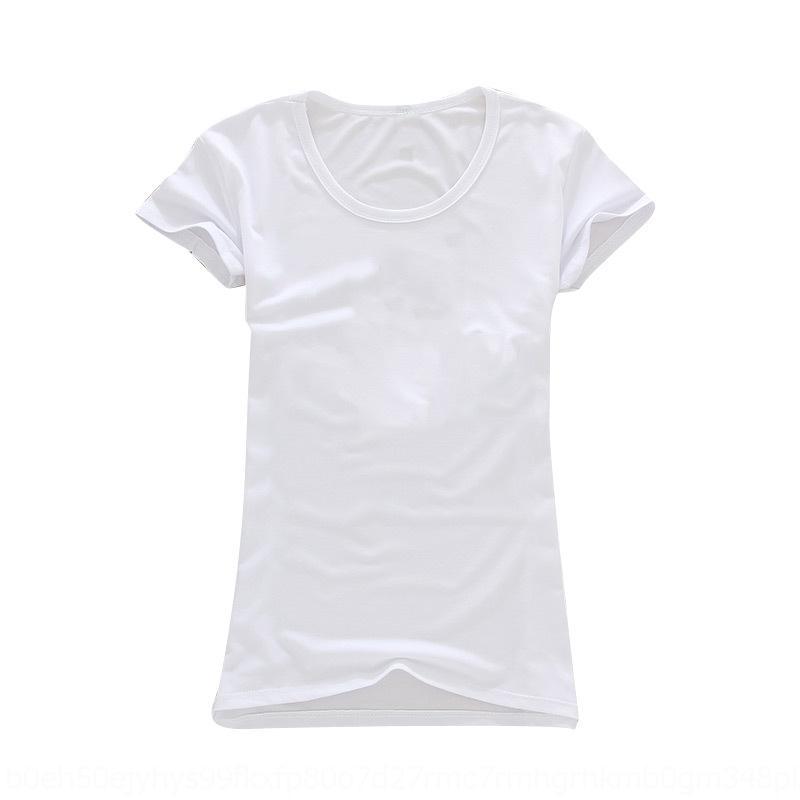 ifVoR AML9n 2020 novo estilo T- coreano cor de secagem rápida sólida T- shirt de manga curta em torno do pescoço camisa de base fina feminina