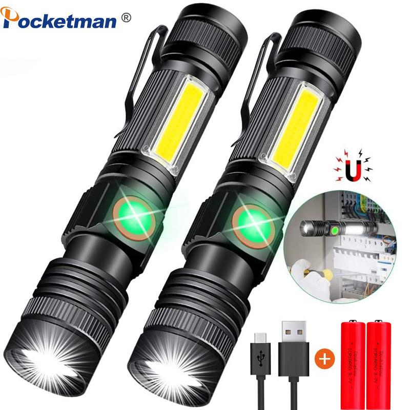 8000LM USB Rechargeable Super Bright Magnetic LED Torch with Cob Sidelight a pocket clip Zoomable for Camping