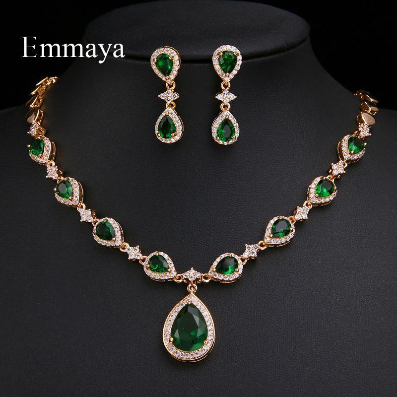 Emmaya Nouvelle arrivée Rose Or Vert Waterdrop Apparence zircons Charme Costume Accessoires Boucles d'oreilles et collier Parures CX200813