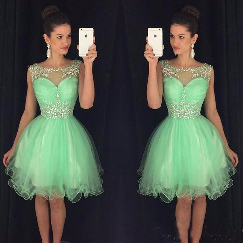 Fashion Mint Green Homecoming Juniors Dresses Beaded Tulle A-Line Cocktail Dresses Prom Gown Graduation Vestidos De Fiesta