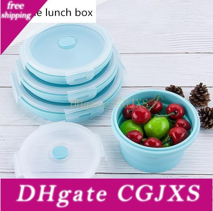 4pcs / Set pliant portable Boîtes à lunch en silicone Bento Box Cuisine Aliments Conteneurs étudiants Boîte à lunch pour pique-nique camping en plein air Utilisation
