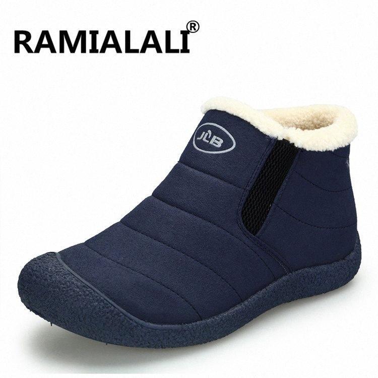 Ramialali homens da neve do inverno Homem Botas Sapatos Lightweight tornozelo botas de pelúcia quentes Sapatos Mens Slip On Casual Desporto Botas Hombres IoOY #