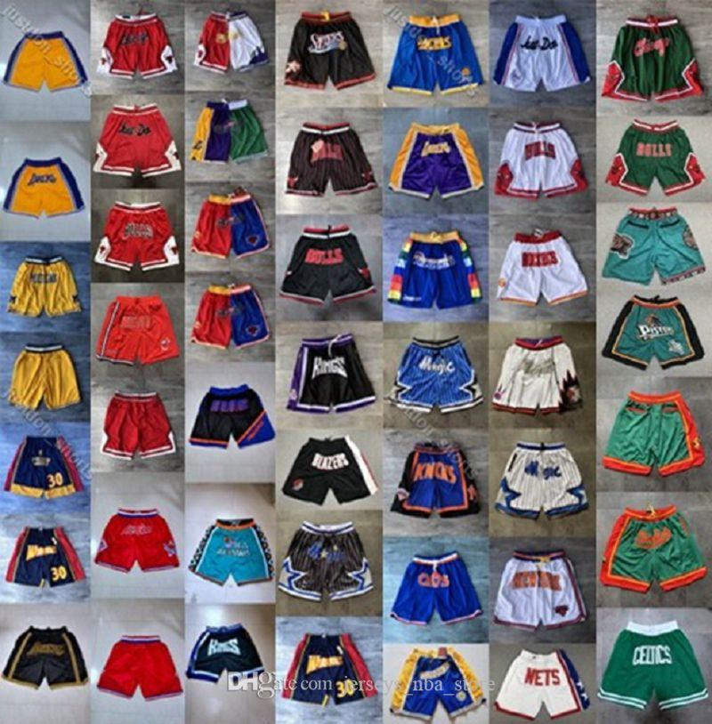 Ретро Mens Just Don Карманный шорты Аутентичные прошитой Sweatpants Все города-Название команды пережитка Баскетбол шорты Дешевые S-XXL