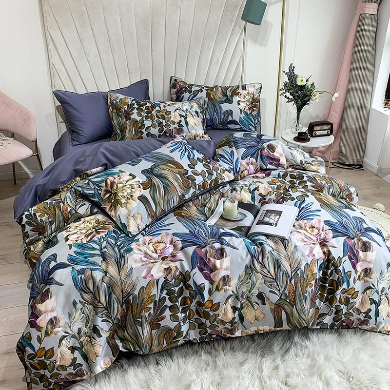 Pure Egyptian Cotton Bedding set Tropical Leaves Flowers Duvet cover set Silky Soft Queen King Bed sheet Quilt Cover Pillowcases