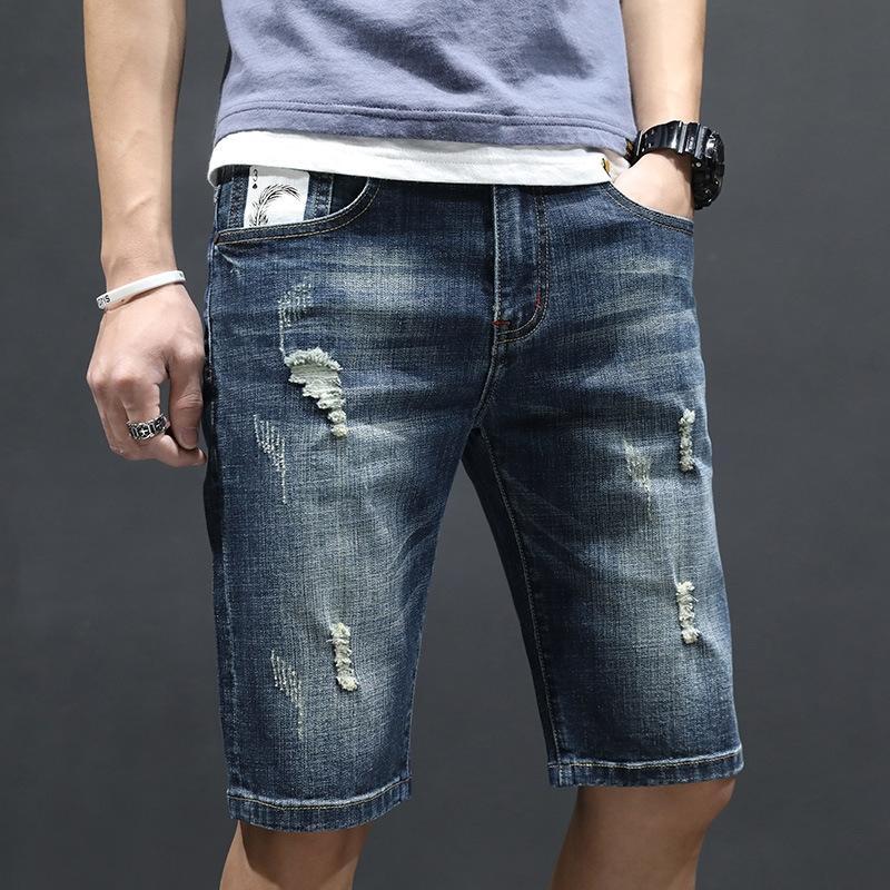 RsNor yaz ince pantolon erkek Kore tarzı ve Pantolon ve kot 5 çeyrek erkek rahat moda kot yırtık
