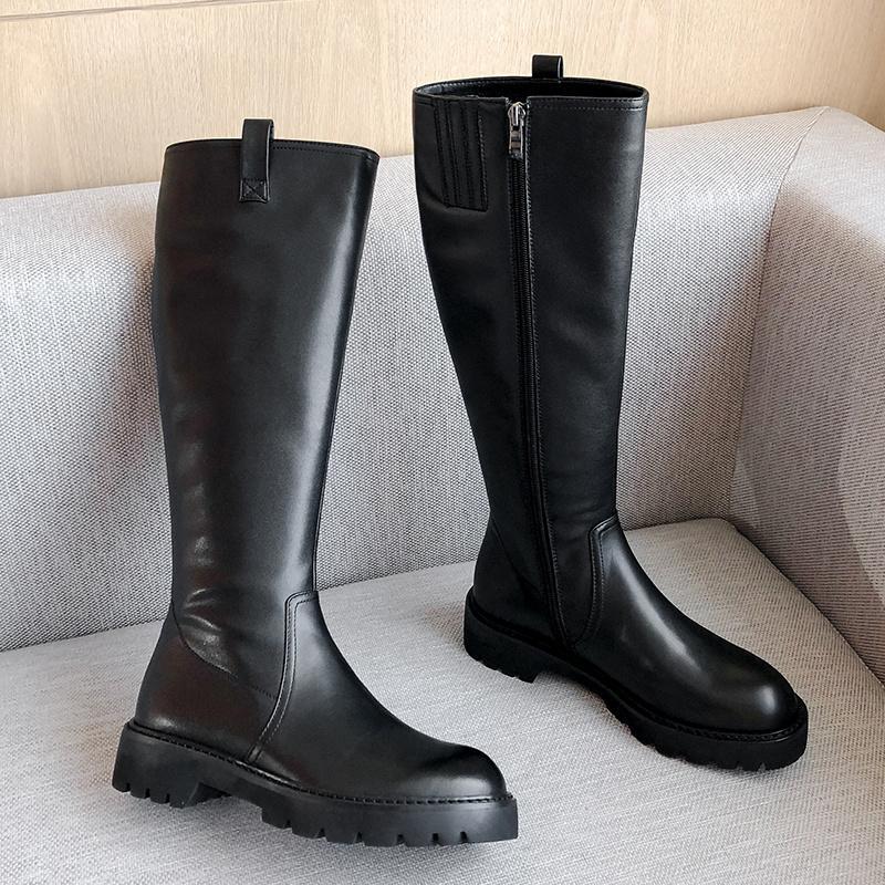 SKLFGXZY Kış Yeni stil hakiki deri Diz yüksek çizmeler Bayan çizmeler Motosiklet açık Gerçek sığır derisi Kadınlar ayakkabı ısınmak