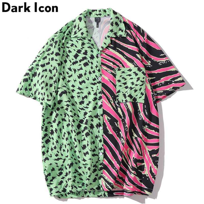 Dark Color Block Patchwork Hip Hop Shirts Turn-down Collar Hawaii Beach Men's Shirts Short Sleeve