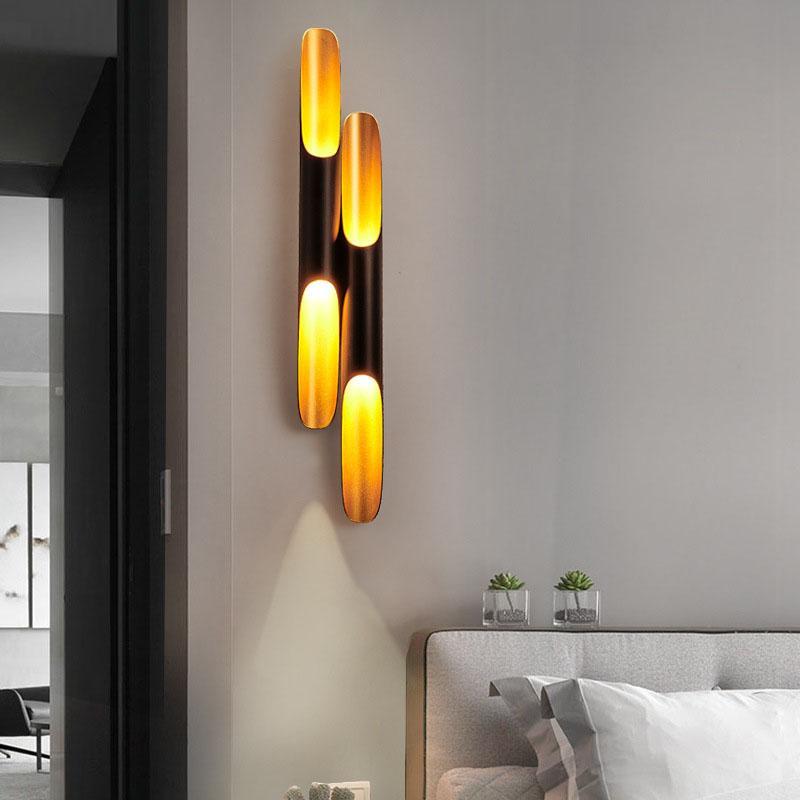 포스트 현대 벽 빛 램프 보루는 알루미늄 파이프 윙 2 벽등 검은 황금 벽 램프 빛 침실 아래로 LED에