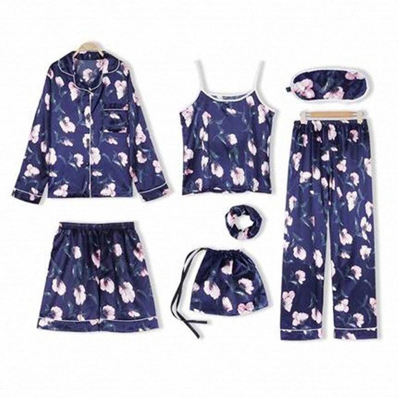 7 PCS-de-rosa listrado pijamas de seda de cetim Femme Pajama Set Ponto lingerie Robe Pijamas Pijamas pijama frete grátis 2019 H5SI #