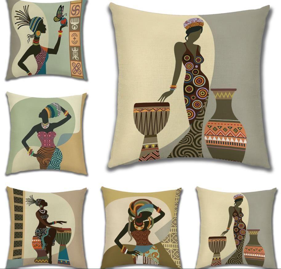Boyama Afrika hayat Koleksiyon Afrikalı Kadın Ev Dekorasyonu Yastık Kılıfı Galeri Egzotik Restoran Yastık Kapak