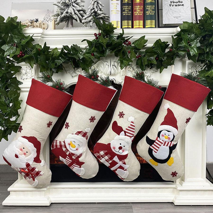New Christmas Stocking Non-woven fabric Old man snowman elk penguin Creative Santa Snowman Elk Gift Bag Candy Bag Christmas Decoration Penda