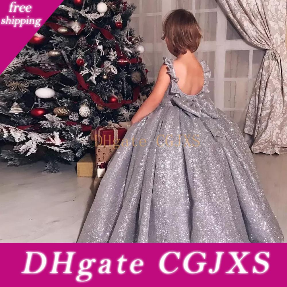 2020 Sparkly Silver Sequin Ball Gown Girls Pageant Dresses With Back Bow Floor Length Kids Formal Flower Girl Gowns