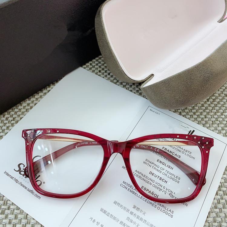 2020 nuevo diseño de moda de las mujeres vasos artificiales marco de diamante de Hotsale + CH3379B a cuadros para gafas graduadas Set completo de embalaje de salida de fábrica