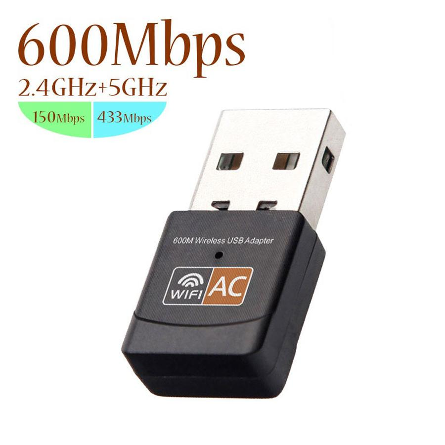 USB WiFi 802.11b Adapter 2.4GHz 5GHz 600Mbps WiFi Antenna Dual Band / n / g / ac Mini Receiver scheda di rete wireless del computer