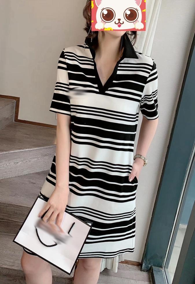 R3Qjm Moda V yaka siyah beyaz yeni etek ve kadınlar 2020 Yaz Kısa Kore tarzı Avrupa moda için çizgili etek kısa kollu elbise