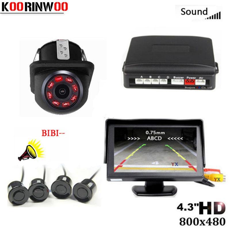 Koorinwoo Universal Parktronic LCD Monitor Car Parking Sensor 4 Sensors Buzzer 12V Car Rear view camera Reversing Step-up Alarm