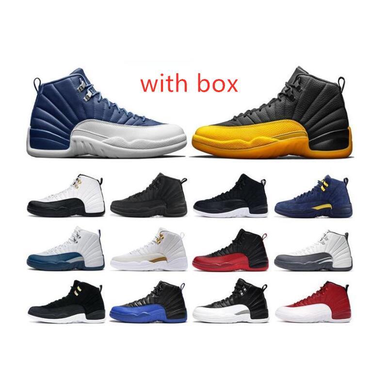 Jeu inverse de la grippe 12s 12 chaussures de basket-ball Indigo University or noir foncé Concord Gris foncé Royal Game Taxi inverse formateur 2020 sneaker