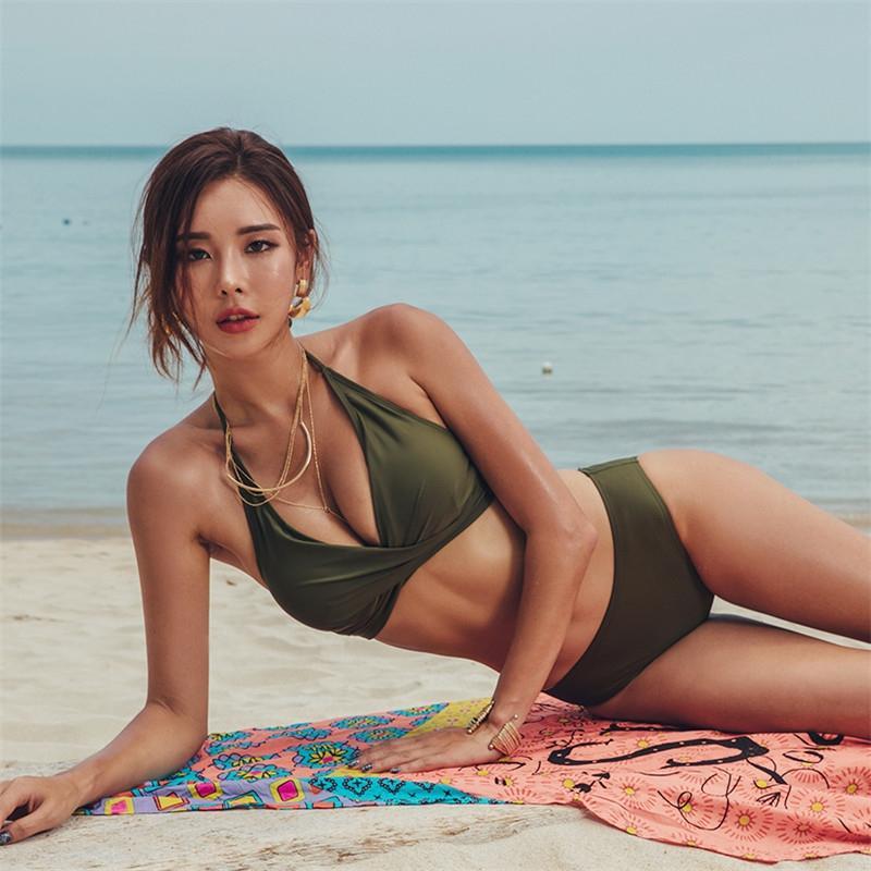 Новые купальник женщин раскол армии зеленый грудь ремни высокой талии живота, охватывающую тонкий сексуальный купальник бикини пляж бикини