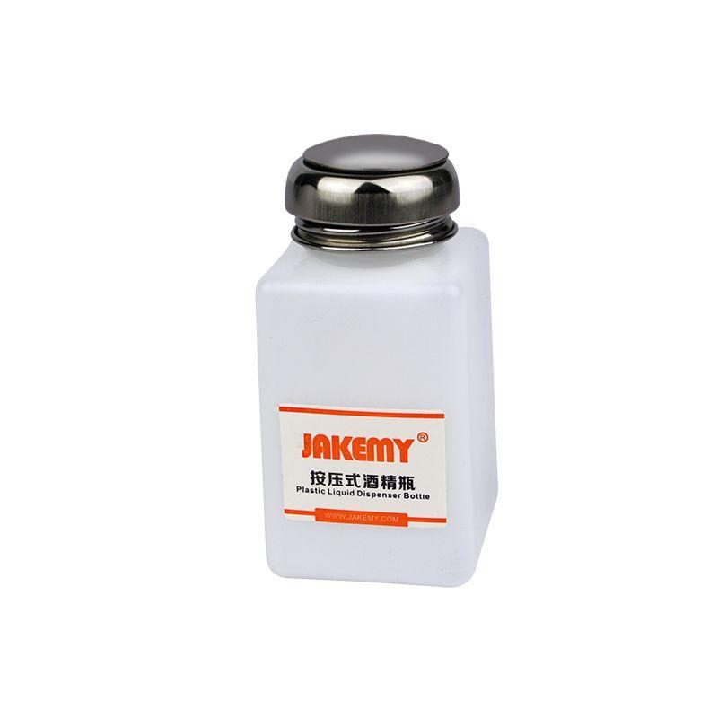 JAKEMY 120 / 180ml de líquido portátil de alcohol Presione botella vacía de la botella dispensador de la bomba Herramientas residuo del pegamento Remover Clean