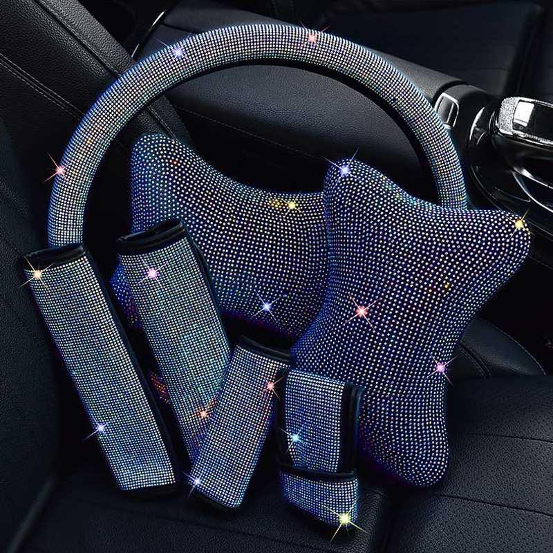 Luxury Rhinestones Crystal Car Seat belt cover pad Steering wheel cover Neck Pillow Auto Interior Accessories