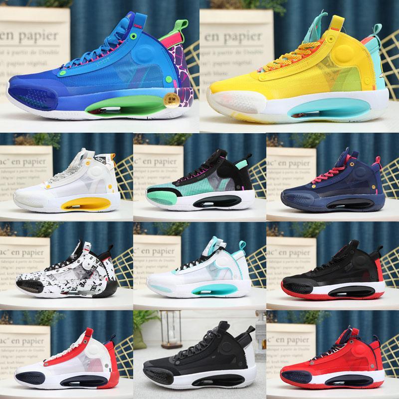 Высокое качество Jumpman XXXIV 34 Синий Пустоты обувь Спорт Баскетбол подлинные 34s Яркие янтарный белый мятный зеленый Orbital красный кроссовки Размер 40-46