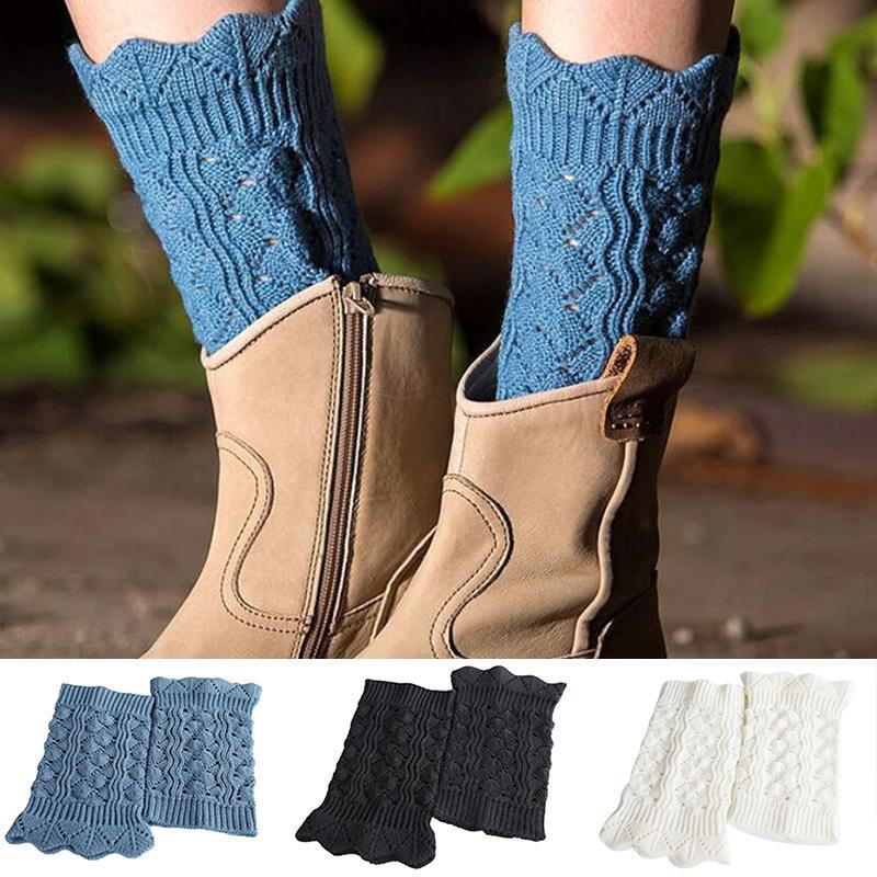 Socken Strumpfwaren 1Pair Damen Frauen Häkeln Boot Manschette Strickteile Winterbeinwärmer Button