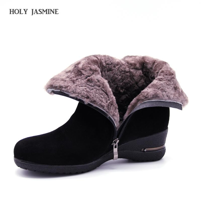 2020 Winter New Warm Wool Fur Ankle Boots Genuine Wool Full Grain Leather Long Plush Snow Boots Women High Quality Wedges Shoes CX200820