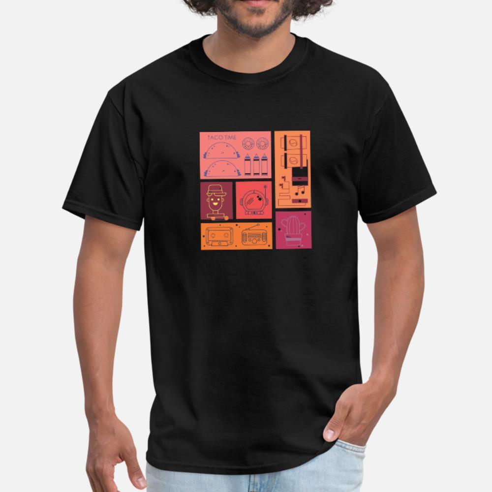 Urban Streetwear Taco Time style des hommes t-shirt imprimé 100% coton col rond Tendance célèbre drôle Casual Printemps Automne chemise Photos