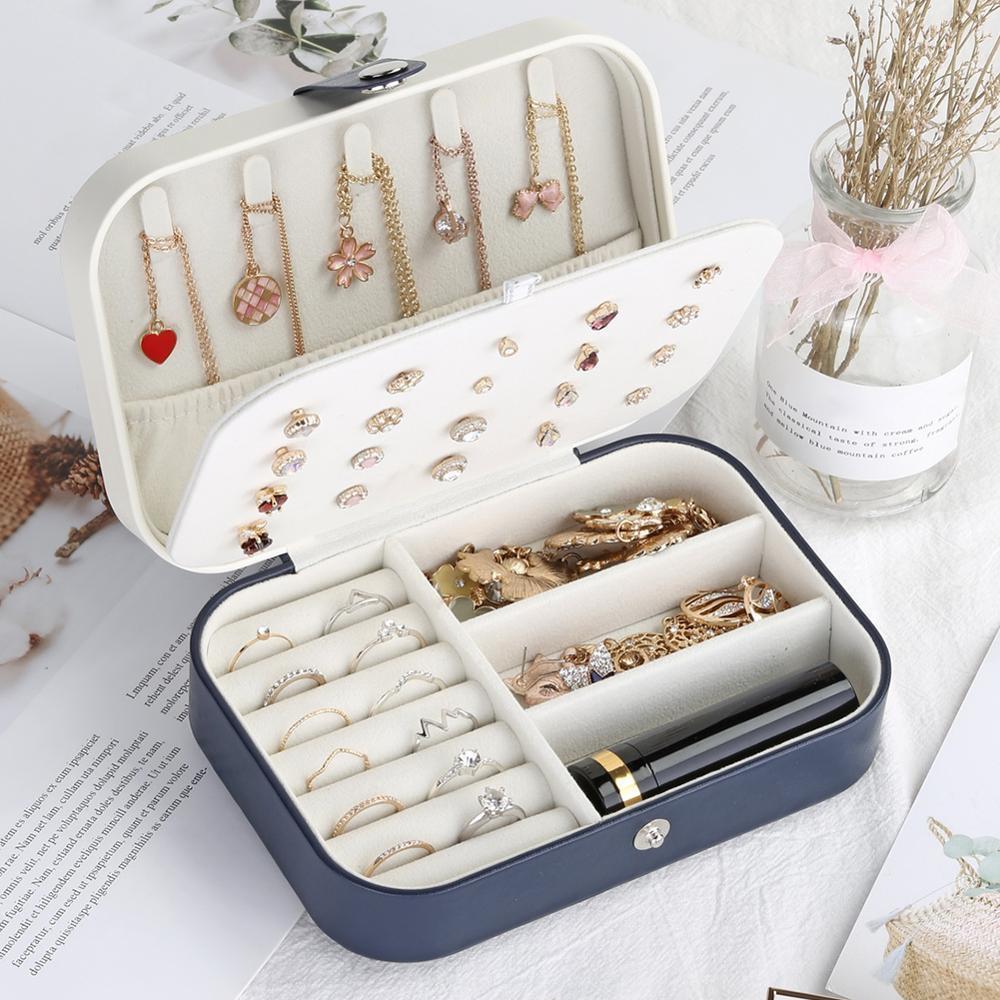 Caixa de armazenamento coreano Estilo Brincos Placa Jewelry Box Protable Couro Anel Multi-função jóias fresco e simples menina MX200810