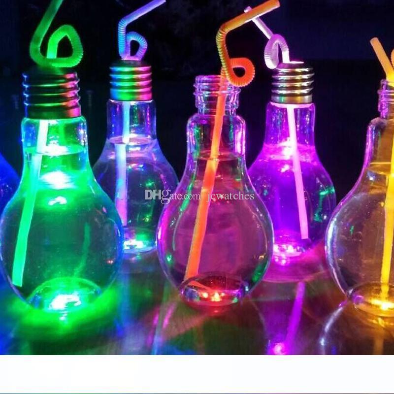 Lampadina Luce 400ml Cup bevanda bottiglia con il coperchio di tè succo di frutta bevanda bottiglia di plastica luminoso Bicchieri