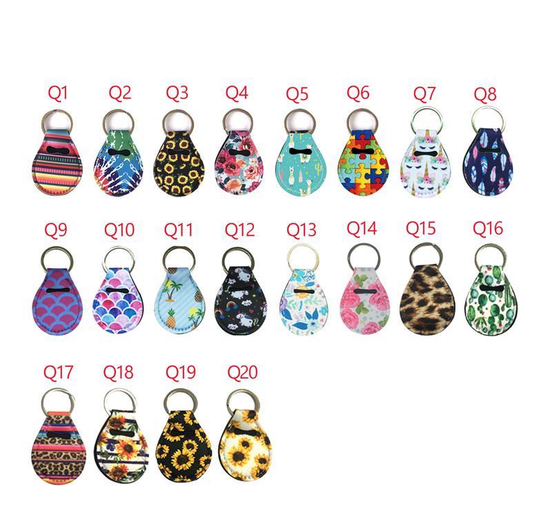 Titular Quarter Neoprene Keychain de mergulho de materiais para o favor de partido 15 Designs Pattern Unicorn impressão floral com anel de metal
