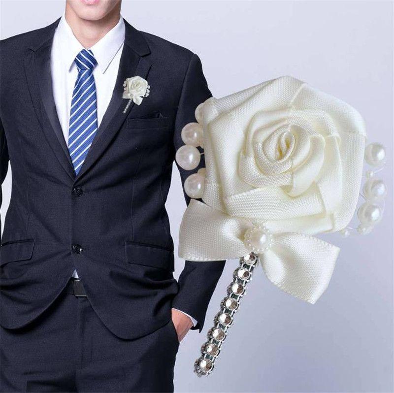 220 Новый Невеста и жених Свадебные Брошь Pin Кристалл Satin Bow Knot розы Цветочные броши с жемчугом