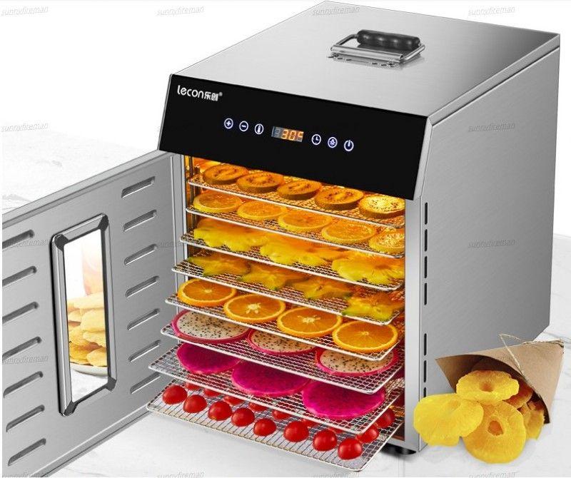 Пищевая обезвоживание сушилки сухой фруктовые машины бытовые и коммерческие смарт-сенсорный 8-слойный емкость Визуальная дверь освещена