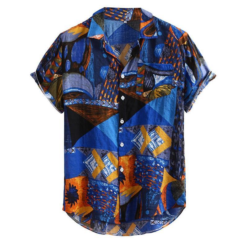 Manica corta etnica del cotone allentato Camisa Masculina Moda Uomo stampato Vintage Buttons Casual 19July15 P30