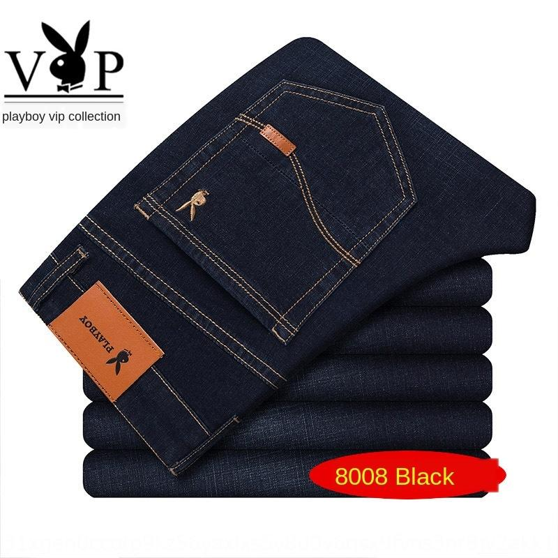 YlpxH Playboy VIP 2020 novos meados de cintura negócios reta calças stretch fino dos homens verão denim e calças dos homens