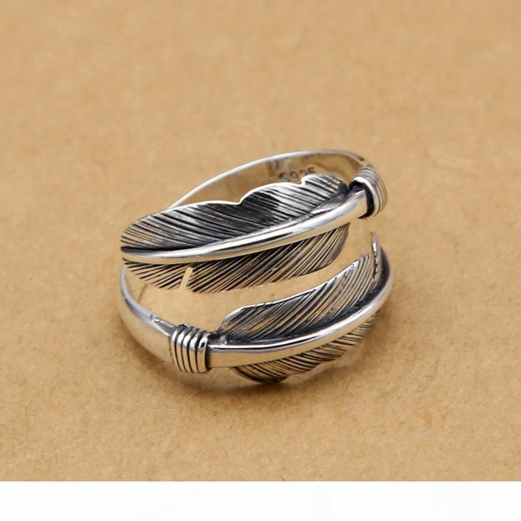 forma ad anello della fascia dei monili di modo della piuma aperta stile vintage argento 925 regolabile anello per le donne