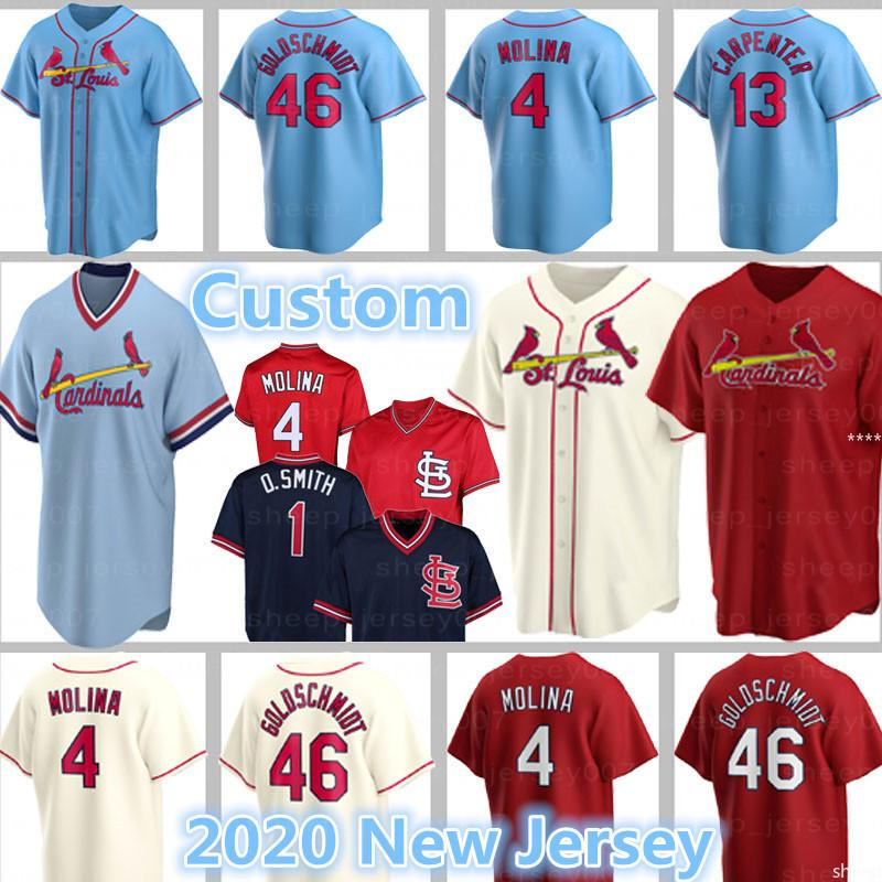 28 Nolan Arenado Custom Goldschmidt Jerseys 46 Paul Kardinal Baseball 4 Yadier Molina 1 Ozzie Smith Alex Reyes Dexter Fowler Carpenter Bader