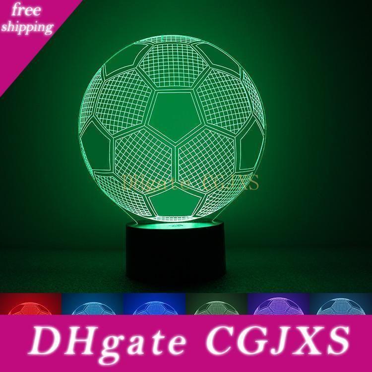 Lampe Illusion 3d Night Football 7 couleurs changeable Coeur Amour Forme Multi Design 5v Dc Usb Wholesale Drop Shipping Livraison gratuite