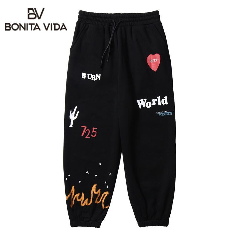 Bonita Vida Fuego Llama Cactus Imprimir Fleece pantalones deportivos Casual Streetwear Hip Hop flojo del basculador de pantalones deportivos pantalones hombres Harajuku