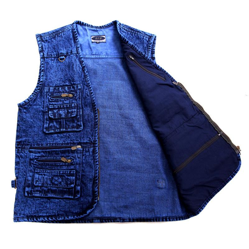 Prendas de vestir exteriores de los hombres chaleco de mezclilla chaleco tamaño de profundidad de color azul sin mangas más tamaño de la chaqueta Multi-bolsillo XL a 5XL CX200817