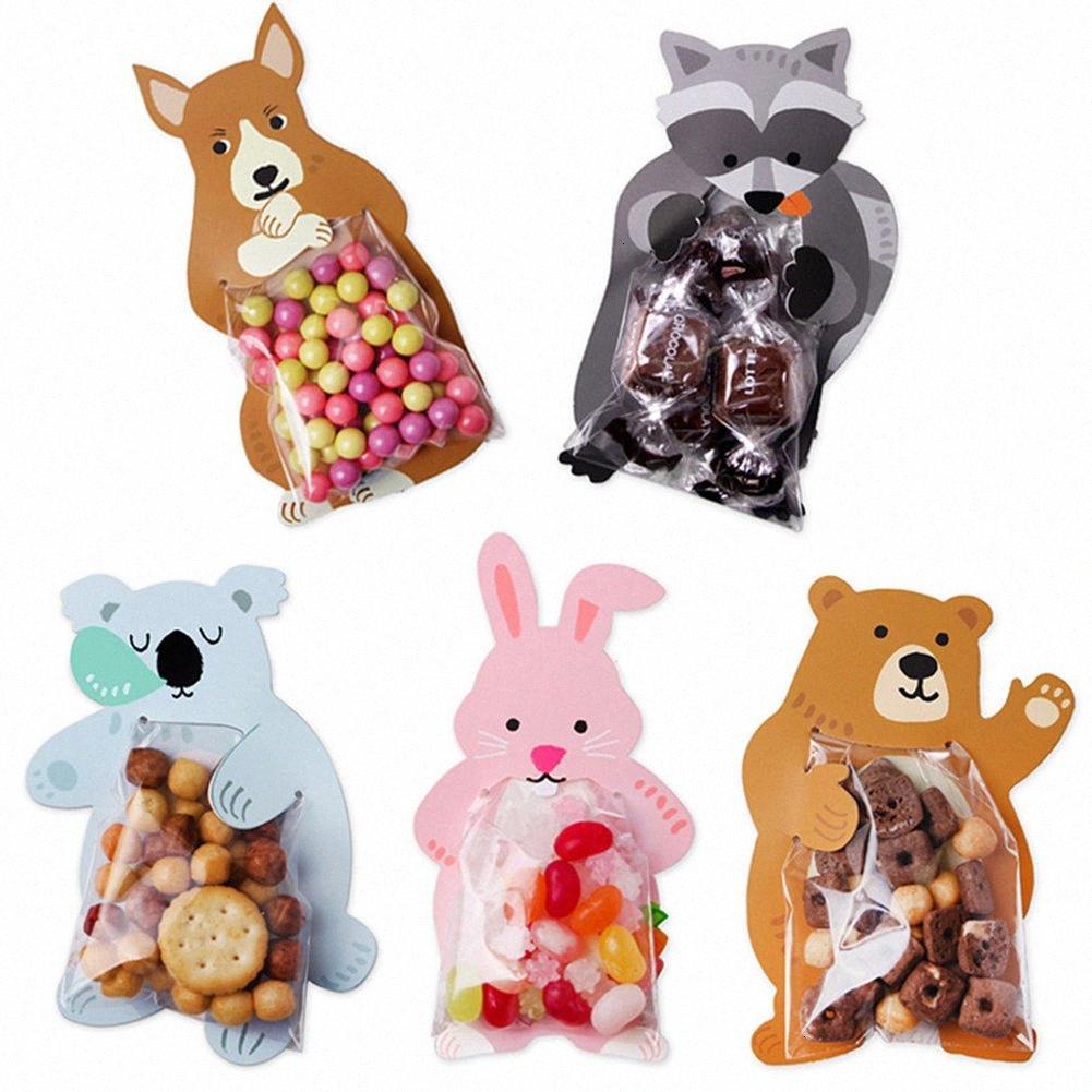 10pcs / lot nette Tier Bär Koala Beuter Grußkarten Biscuit-Tasche Geburtstags-Party Hochzeit Plätzchen Süßigkeiten Verpackung Beutel Copp #