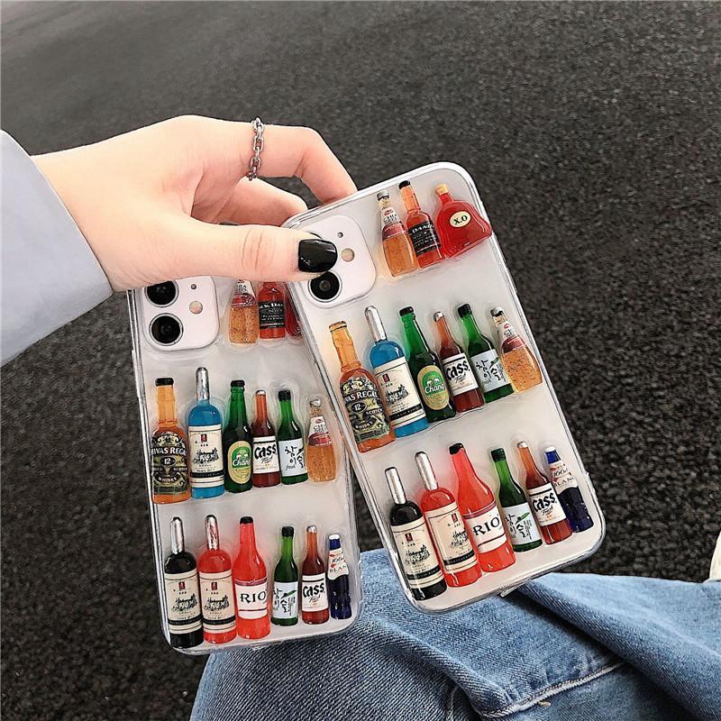 Para iPhone 11Pro max 7 8plus X XR cubierta Xsmax caja DIY del teléfono de TPU winebottle Top Qulity Moda teléfono para Huawei P30 P40 Pro Mate30 Mate20