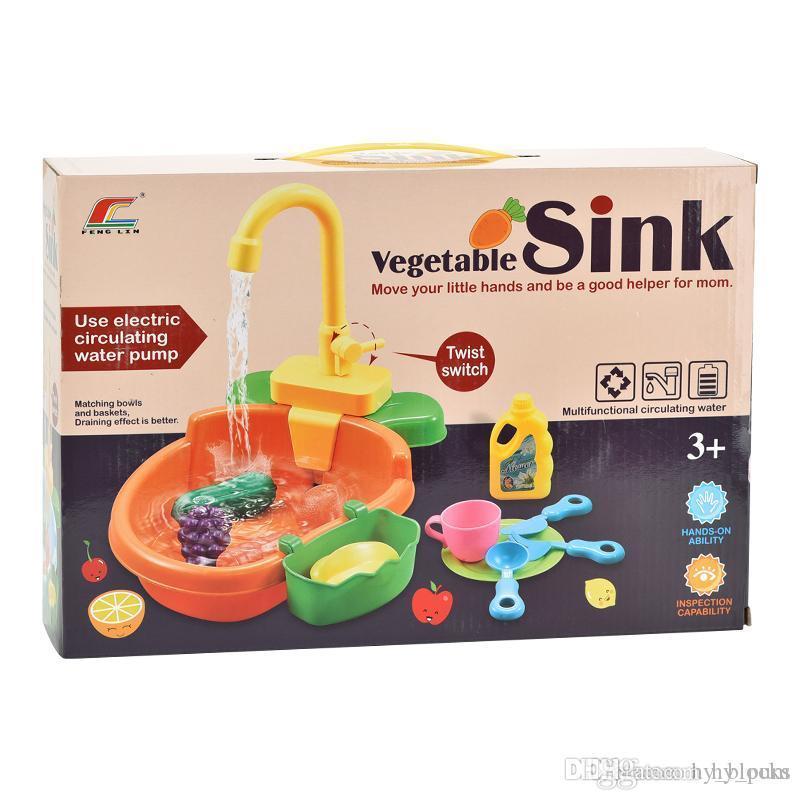 Simulation Küche Spülmaschine Toy Pretend Play House Spiele Baby-Spielzeug Elektrisches Wasser Waschbecken, Gemüse, Obst-Kind-Mädchen-Spielzeug